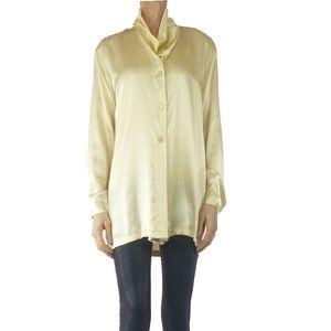 Escada Solid Gold Tone Silk Blouse, Sz 8